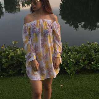Cute Pineapple Off Shoulder Dress