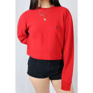 Vintage Cropped Polo Sweater
