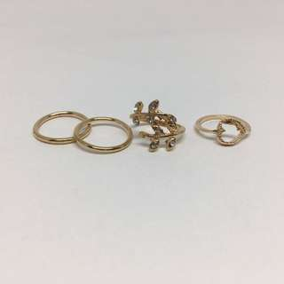 Set Of 4 - Gold Midi Rings