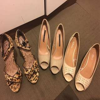 Size 8 Bulk shoes/ pulp and Alonso heels and Rubi wedges