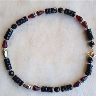 Black & Red Beaded Necklace
