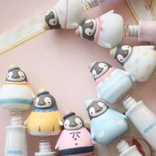 🐧現貨🐧可愛企鵝筆 搖搖圓珠筆 帶吸盤底座  藍/粉 隨機