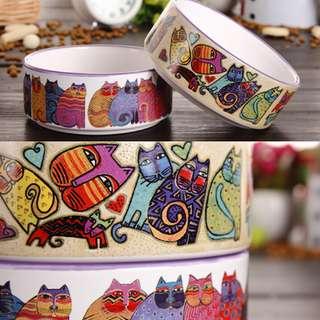 貓咪圖案陶瓷碗(適合中小型犬貓)