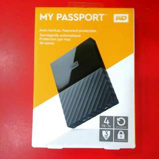 BNIB 4TB Portable Western Digital WD My Passport Hard Disk Drive