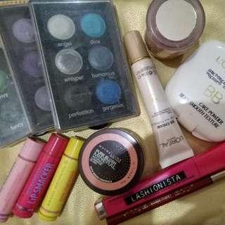 3 set Of Eyeshadow Palette 1 Liquid Funda And 1 Cake Powder fashion21 Blush On And Maybelline 3 Lipsmacker 1 Dollywink Eyeliner 1 Lashionista Maybelline Mascara  PRELOVED MAKEUP!