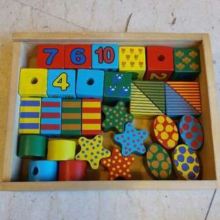 Wooden Cube and LacingToy