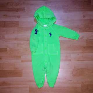 Original Ralph Lauren baby jumper with hoodie (unisex), neon green color, number 3 logo