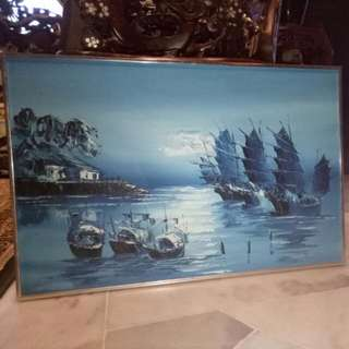 Boat Feng Shui Oil Painting