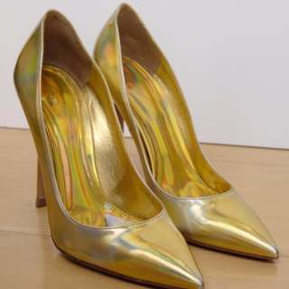 "Gianvito Rossi metallic leather ""Mirror"" gold pointy toe pump"
