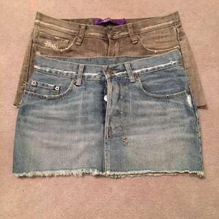 Tsubi Ksubi Denim Jeans Shorts Skirt Size 8 - Lot Of Two Items