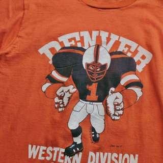 正老品 古著復古★Vintage 70's Denver Broncos Western Division Champions T-Shirt 1977年丹佛野馬隊美聯西區比賽冠軍紀念T恤 Made in U.S.A
