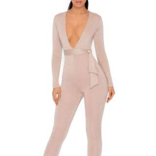 Oh Polly Metallic Knit Jumpsuit
