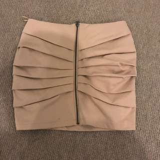 Beige Mini Skirt With Front Zip Size 8