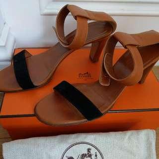 Hermes 駝色 高跟 涼鞋 38.5號