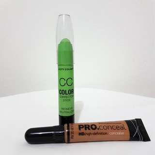 City Color CC Color Corrector Stick GREEN & L.A. Girl PRO Conceal HD Concealer