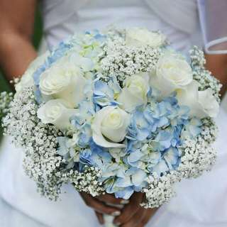 Blue Hydrangea And White Roses With Baby Breath Bouquet - Neaten
