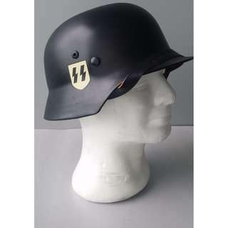 Early M1935 Black SS Double Decal German Helmet (Replica)