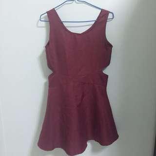 Maroon Cut Out Dress