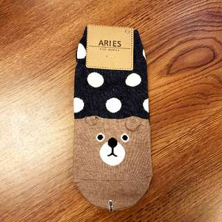 Bear & Polka dots character socks