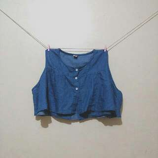 Denim Cold-shoulders Croptop