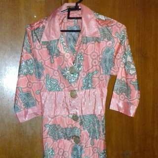 Dress Batik Warna Orange