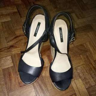 Authentic Black Forever 21 Wedge Heels (Original 6 Inch, US Size 7.5 But Fits Me Even If I'm Normally Size 8/9 😉) Coachella Inspired