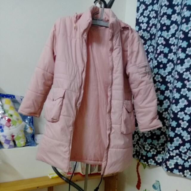 #8月免購物直接送 粉色冬天外套