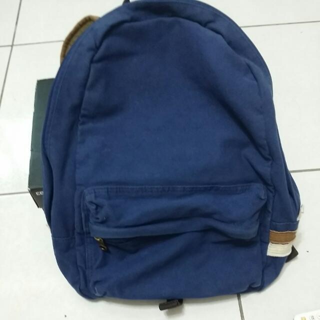 深藍側邊雙配色背包