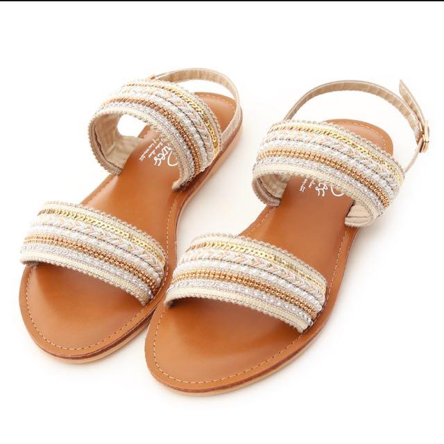 民俗風珠珠亮片涼鞋