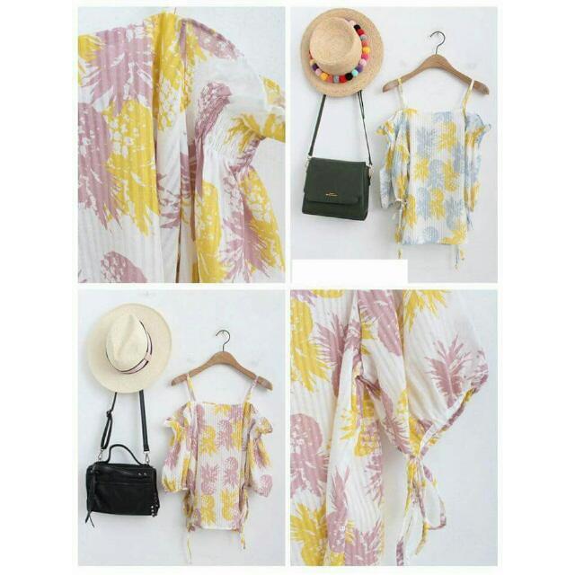 ♡花雜貨♡🐰夏日 吊帶荷葉平口鳳梨上衣(粉紫)