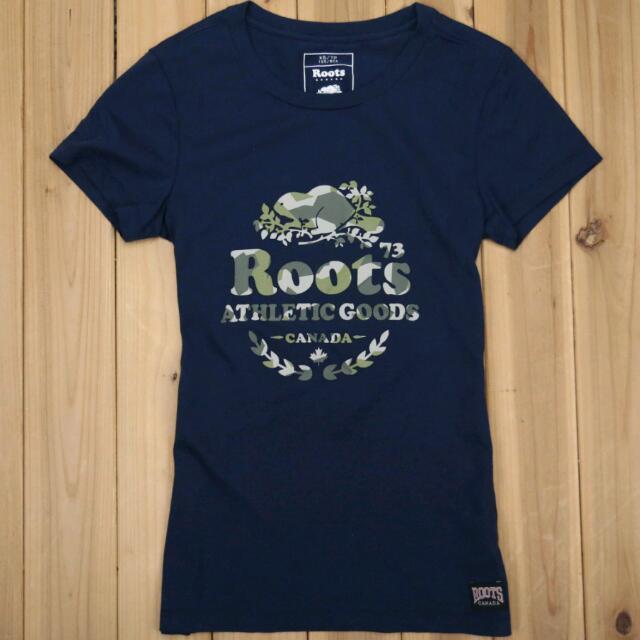 全新正品 ROOTS 女款 迷彩 桂冠海狸 短T 深藍色