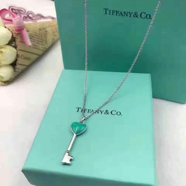 原廠正品 純銀Tiffany & co 藍色珐瑯愛心鑰匙項鍊