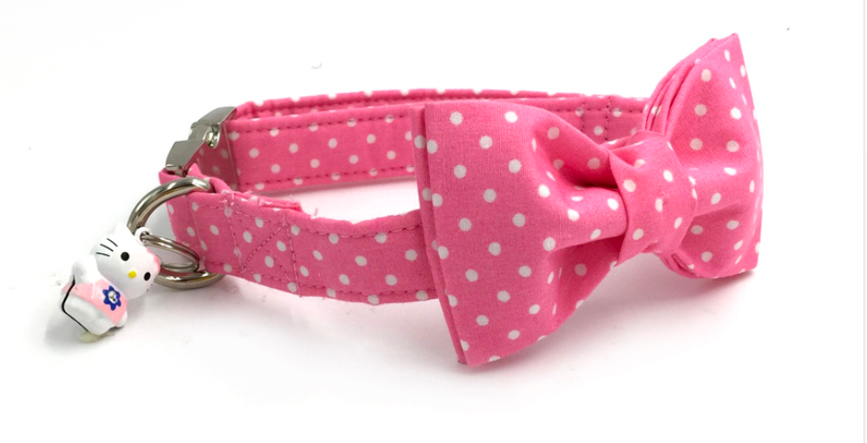 Adorable Small Pink DOG COLLAR WITH BOW TIE