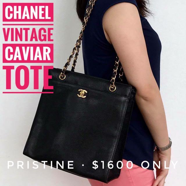 c041bafef0c185 Chanel Vintage Caviar Shopper Tote Bag, Luxury, Bags & Wallets on Carousell