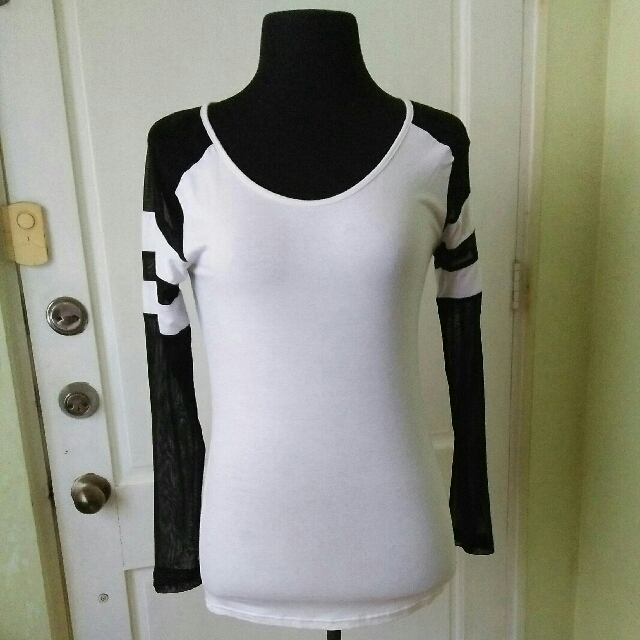 Bench white shirt with net knit long sleeves