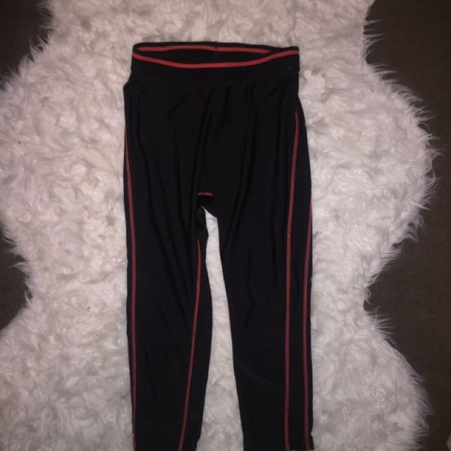 Black And Orange 3/4 Running Pants