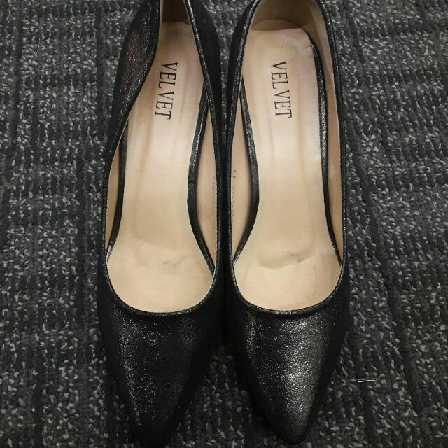 Black Glitter Heel Shoes
