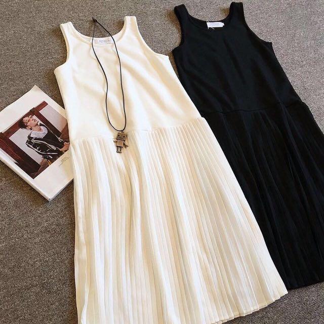 Black Tank Pleated Dress