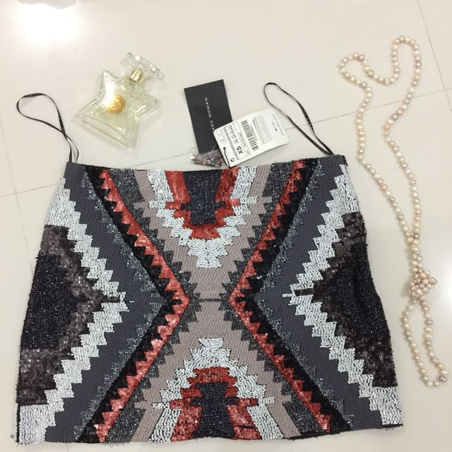 Bnew Zara Sequined Skirt From NY USA