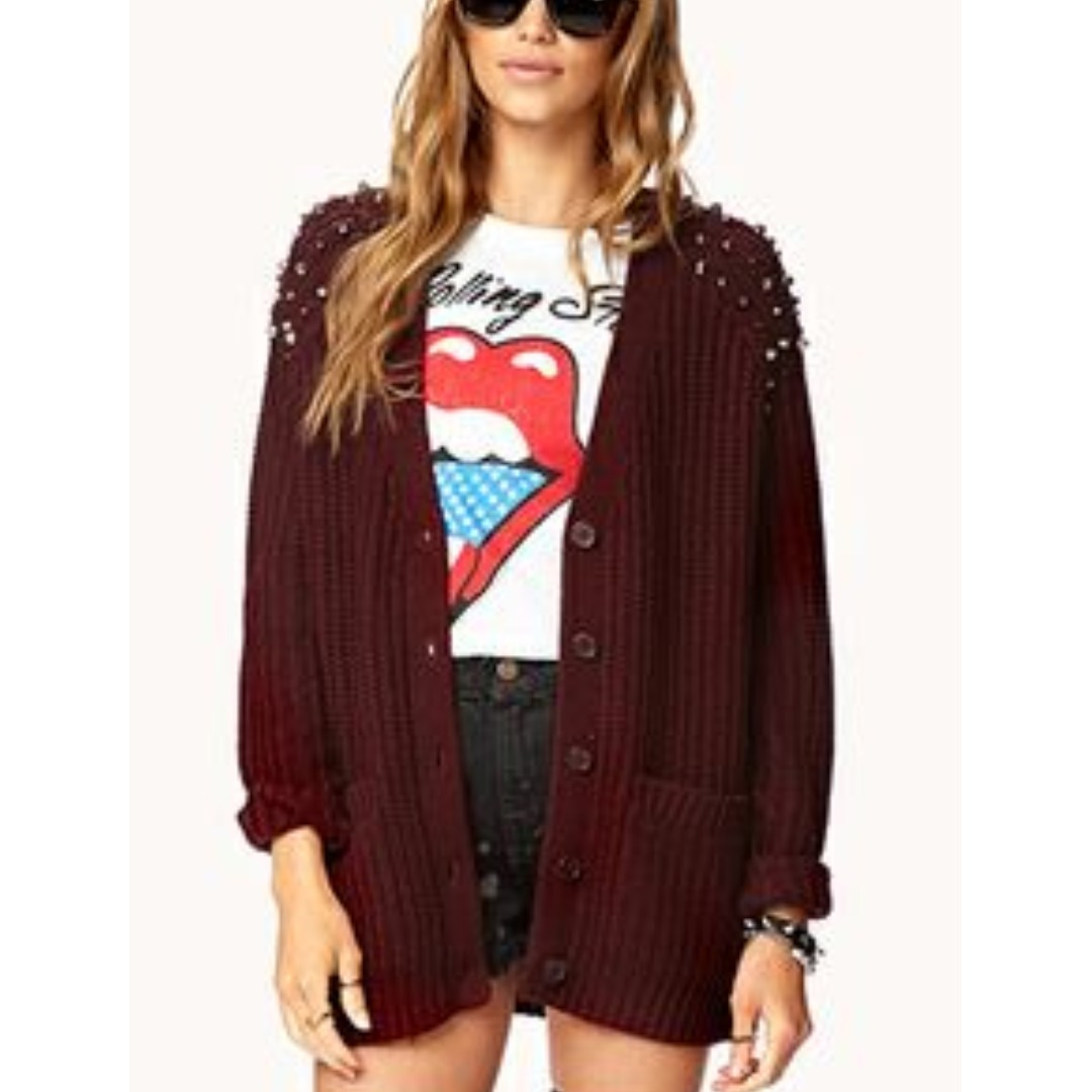 Burgundy Studded Knit Cardigan