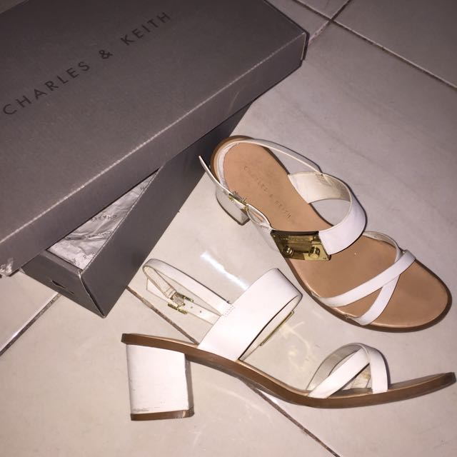 Charles&Keith White Heels Sandals Size 38