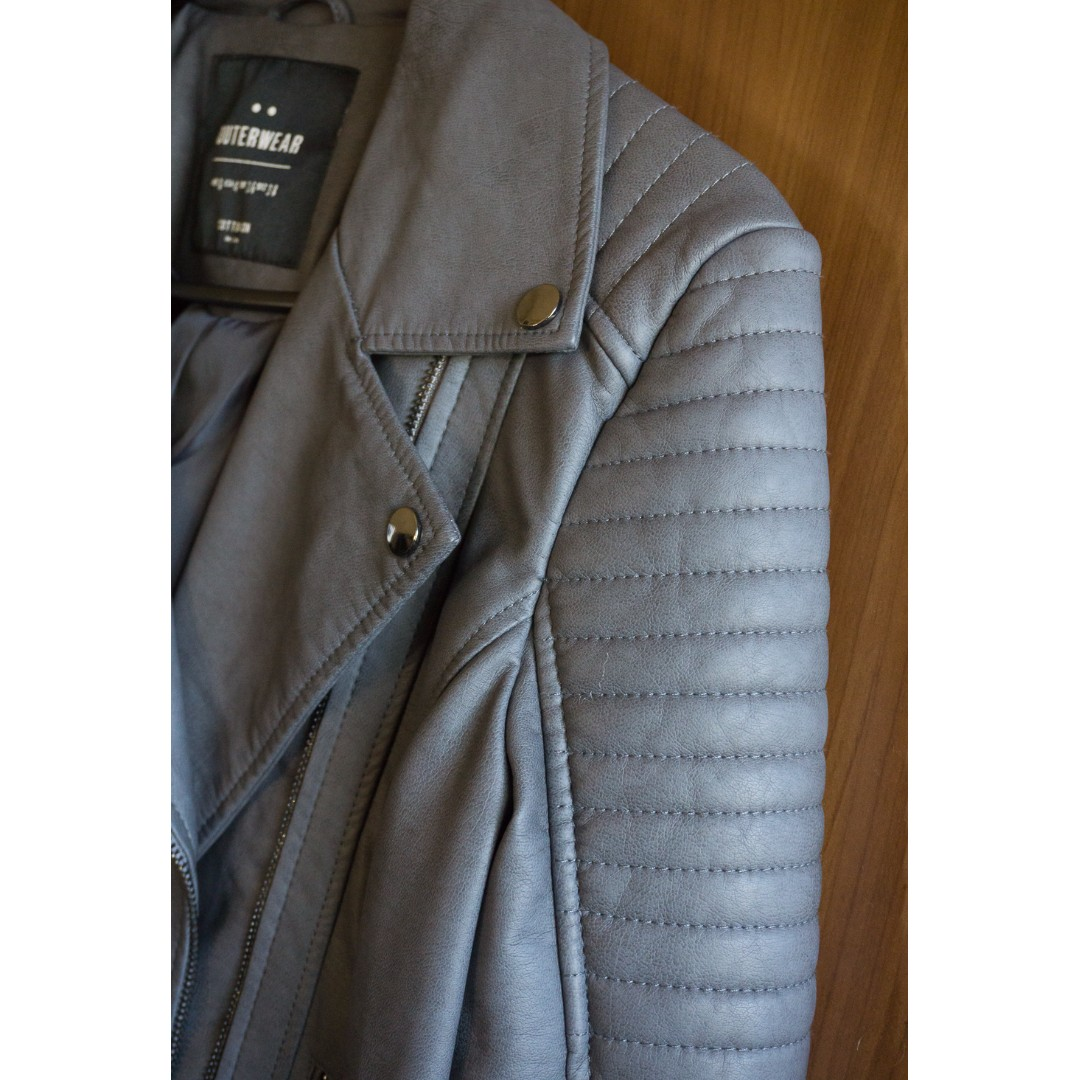 Cotton On Faux Leather Jacket Grey Size 08