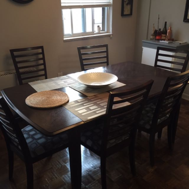Dark Wood Dining Table With Leaf And 6 Chairs