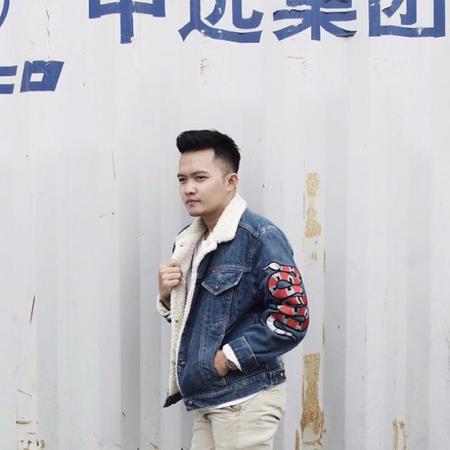 b0477792bc4 Embroidered Denim Jacket With Shearling (GUCCI SNAKE PATCH ON LEFT ARM)