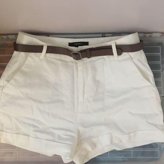 F21 White Shorts