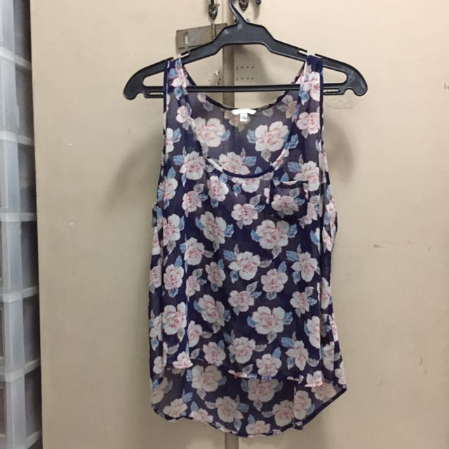 Forever 21 Floral Sheer Sleeveless Top