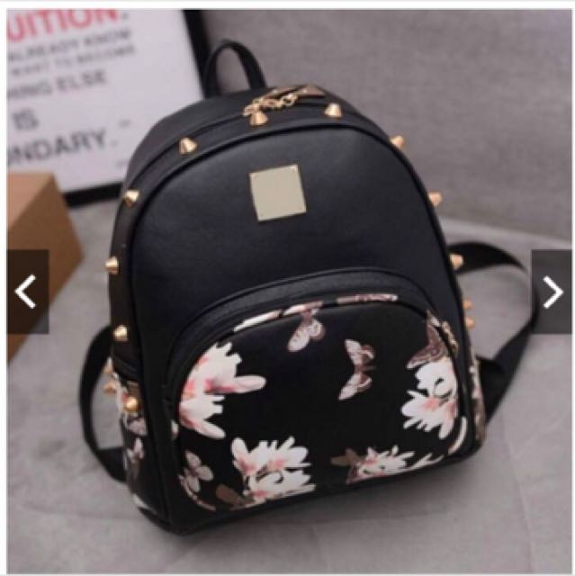 Girls Leather Floral Backpack