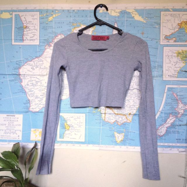 Grey Ribbed Crop, With Long Sleeve