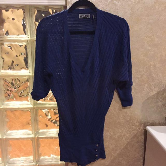GUESS Blue Wool Cashmere Blend Knit Dress Xs