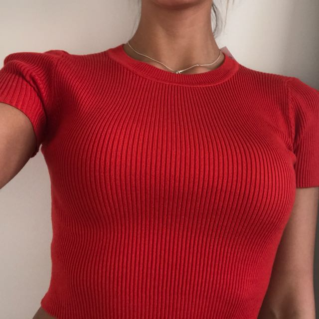 High Neck Ribbed Ditto Crop BNWT